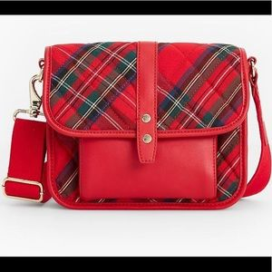 Talbots Quilted Nylon Red Plaid Crossbody Bag